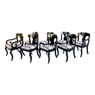 1940's Regency Style Black Lacquered Dining Chairs - Set of 8 For Sale
