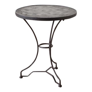 Aged Round Iron Side Table For Sale