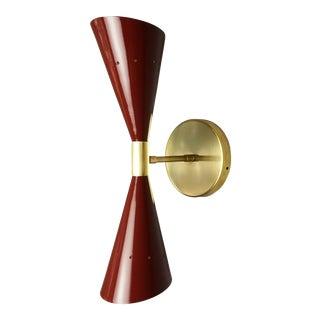 """Italian Modern Brass & Enamel """"Oblique"""" Wall Sconce For Sale"""