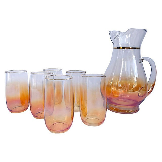 Mid 20th Century Iridescent Ombre Glasses with Pitcher - 7 Piece Set For Sale - Image 5 of 5