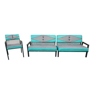 Vintage Van Keppel Black & Green Upholstered Seating Unit - Set of 3 For Sale