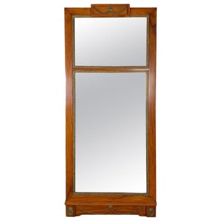 Antique Federal Period Cherrywood Mirror With Brass Highlights For Sale