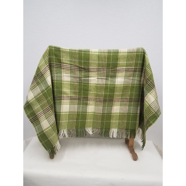 Victorian Merino Wool Throw Greens Brown and White Plaid - Made in England For Sale - Image 3 of 11
