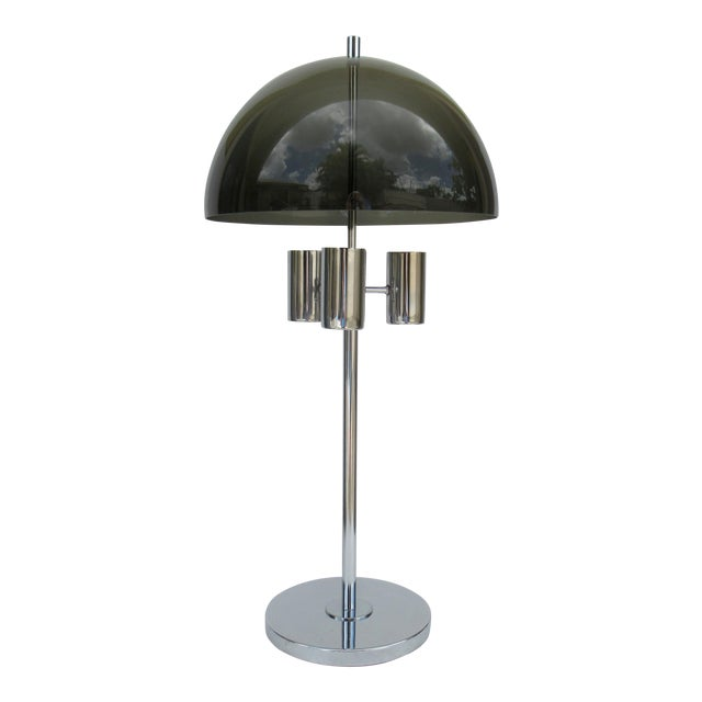 1960's Mid-Century Modernist Space Aged Smoked Lucite and Chrome Mushroom Table Lamp For Sale