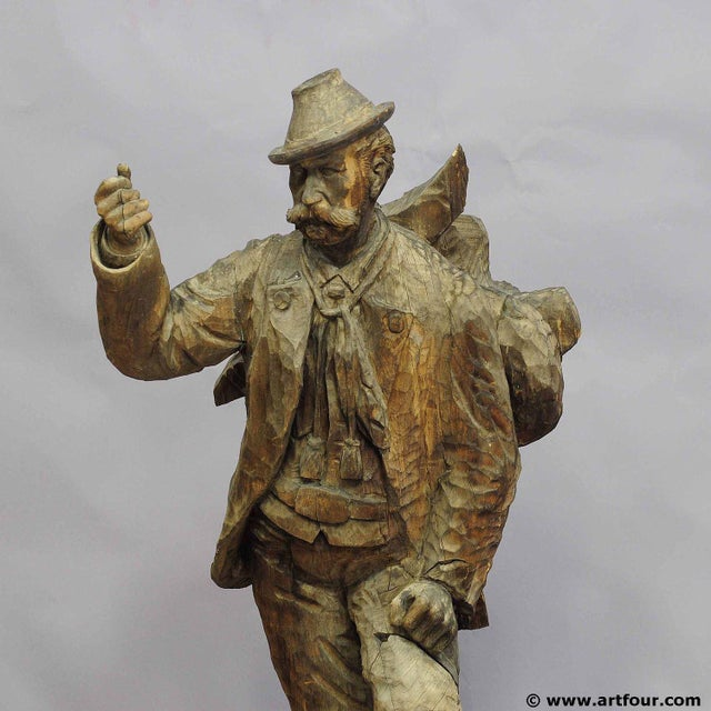 A Large Unfinished Black Forest Poacher With Ibex Carving For Sale - Image 4 of 12