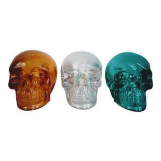 Jonathan Adler Inspired Set of 3 Extra Large Lucite Skulls
