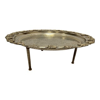 Moroccan Polished Round Footed Silvered Tray With Brass For Sale