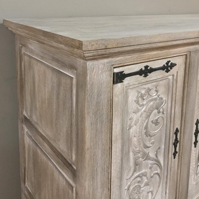 Light Gray Buffet, Antique Gothic in Whitewashed Oak For Sale - Image 8 of 13