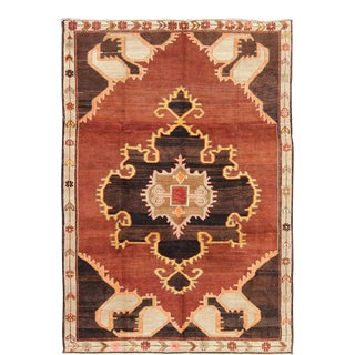 Bold Design Vintage Turkish Rug in Sienna, Brown, Black, Cream and Yellow For Sale