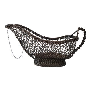 Antique French Wine Bottle Basket With Rope Link Handle For Sale
