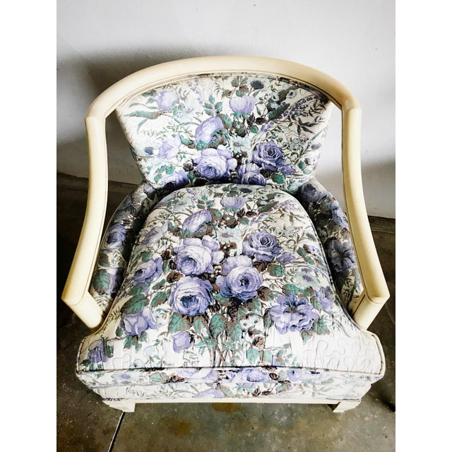 Early American Baker Vintage Violet Floral Club Lounge Chair - Pair For Sale - Image 3 of 8