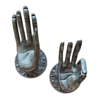 Silver Metal Buddha Hands Pulls/Hooks - a Pair For Sale