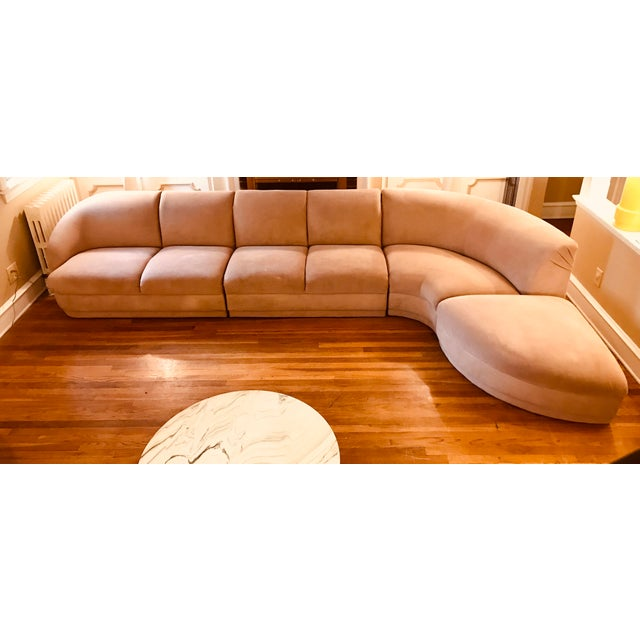 Contemporary Blush Serpentine Sectional Sofa by Vladimir Kagan for Weiman For Sale - Image 3 of 12