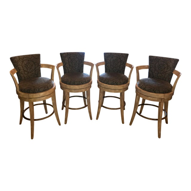 Swivel Barstools by Swaim - Set of 4 For Sale