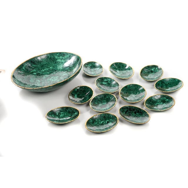 High grade natural Malachite & Bronze set of 13 nut bowls, composed of 1 main large bowl and 12 smaller ones. This Set has...