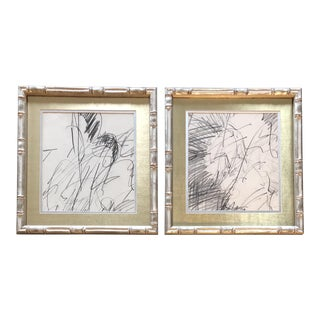 Gallery Wall Collection 2 Original Charcoal Abstract Drawing Silvered Bamboo Frames 1970's - a Pair For Sale