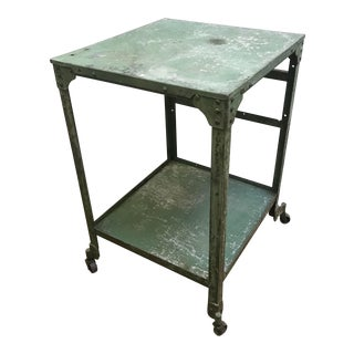 Vintage Industrial Cart Table on Casters For Sale