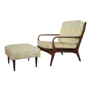 1960s Mid Century Modern Yugoslavian Walnut Arm Chair & Ottoman For Sale