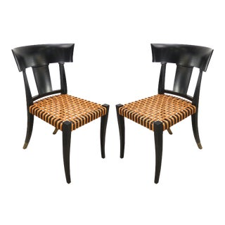 Luca Schacchetti Oak Design Edizoni Italy Lacquered Chairs W/ Leather -A Pair