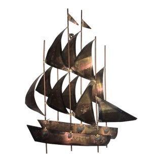 1970s Brutalist Curtis Jere Style Sailing Ship Copper Wall Sculpture For Sale