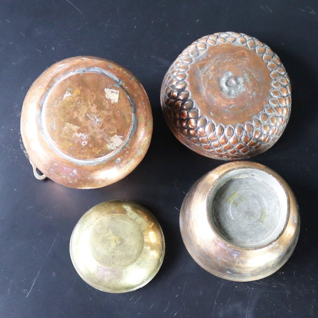 Antique Hand-forged Turkish Copper and Brass Bowls - Set of 4 For Sale - Image 12 of 13