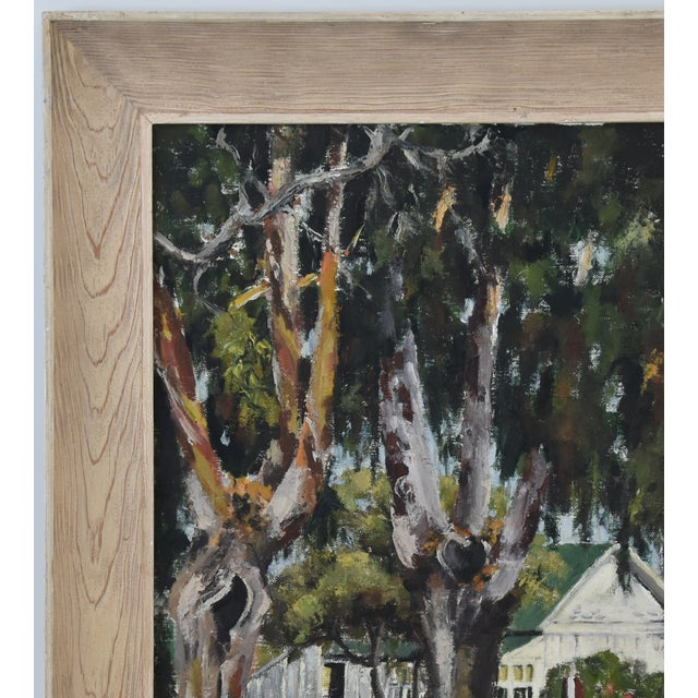 Canvas 1950s Dorothy Neal, Cottage and Grove of Trees Landscape Oil Painting For Sale - Image 7 of 11