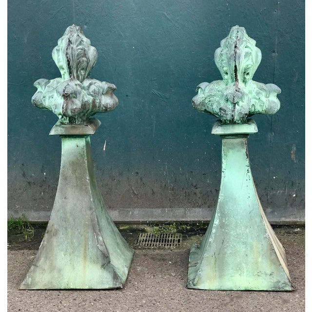 "Pair of French Fleur-de-lis Copper Finials with Patina. This pair shows great color for indoor outdoor design. Over 55"" tall"