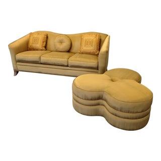 Faux Silk Gold Sofa & Large Clover Ottoman For Sale