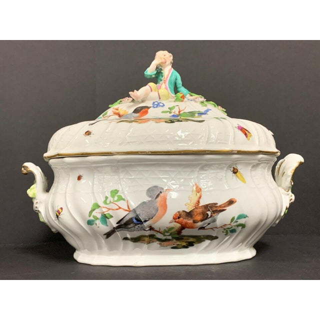 Beautiful Antique 18th Century Meissen Porcelain Tureen Circa 1750 with Handpainted Birds, Insects, Flowers and a Boy...