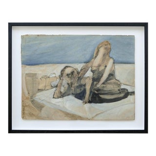 Figurative Robert Andrew Parker Abstract Painting, Aquatint and Ink Figures at the Beach For Sale