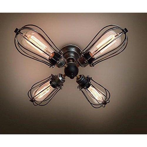 4 Bulb Vintage Industrial Ceiling Light - Image 2 of 3
