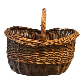 French Antique Wicker Basket For Sale