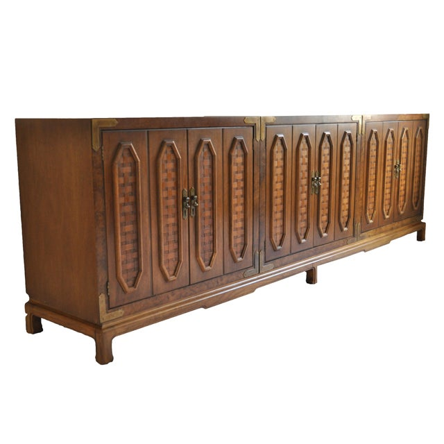 This traditional midcentury credenza comes in 3 pieces which all set into one large base. Functional and beautiful, the...