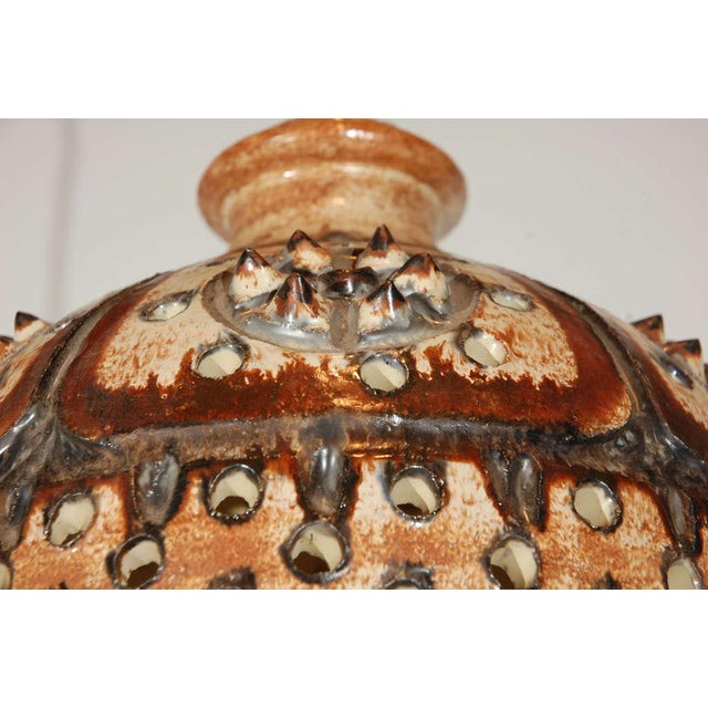 Jette Hellerøe Signed Jette Helleroe Art Pottery Light Fixture For Sale - Image 4 of 8