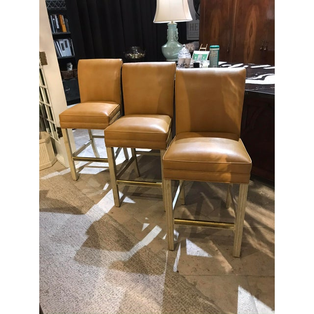 "Century White Washed Bar Stools With Orange ""Lizardo"" Vinyl - Set of 3 For Sale - Image 10 of 10"