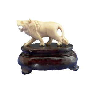19th European Ivory Bone Miniature of a Lion on Stand For Sale