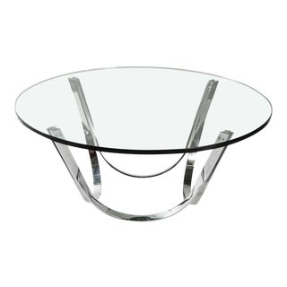 Round Glass Coffee Table by Roger Sprunger for Dunbar For Sale