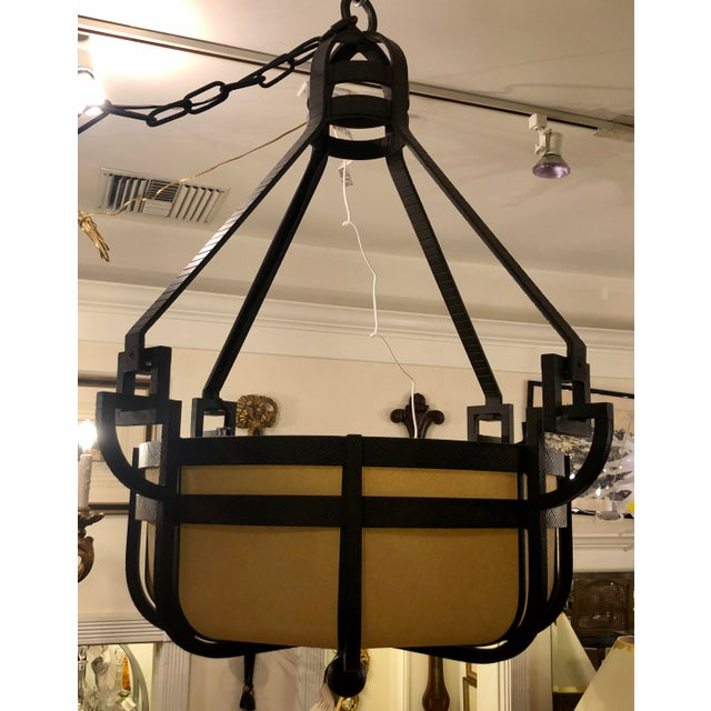 Paul Ferrante Pounded Wrought Iron Manhattan III Chandelier