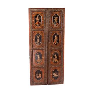 1830s Painted Indian Palace Doors - a Pair For Sale