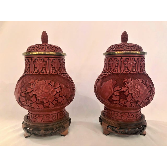 Asian Pair Antique 19th Century Chinese Cinnabar Urns. For Sale - Image 3 of 3