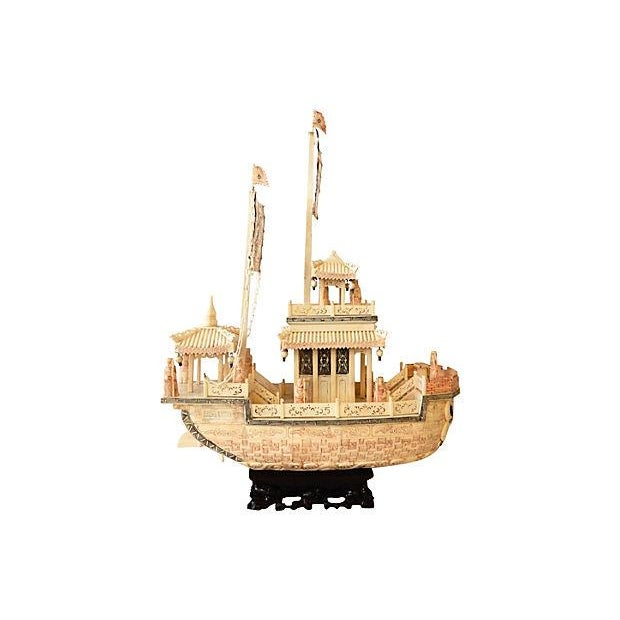 Chinese Carved Bone Boat on Stand - Image 5 of 7