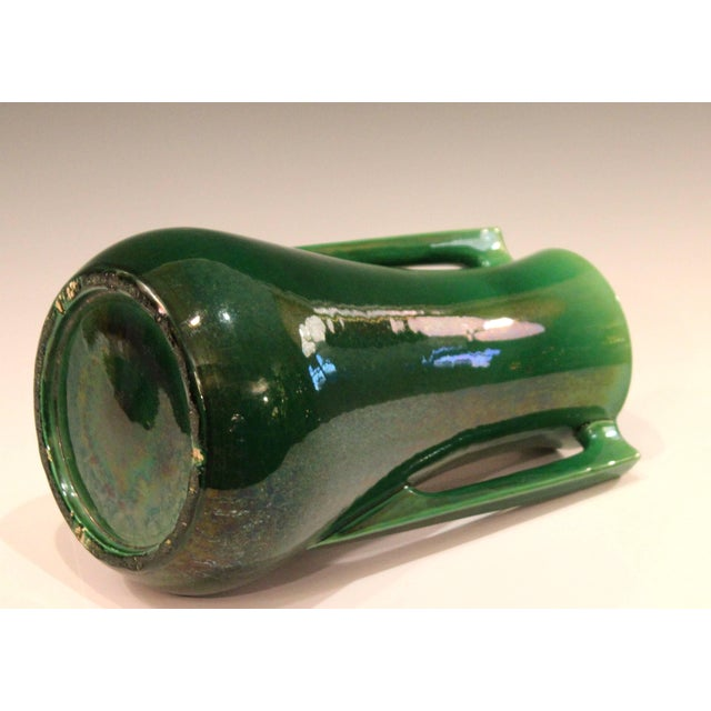 Early 20th Century Awaji Pottery Architectural Buttress Handle Arts & Crafts Green Monochrome Vase For Sale - Image 5 of 11