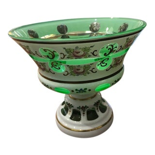 Venetian Glass Pedestal Candy Dish For Sale