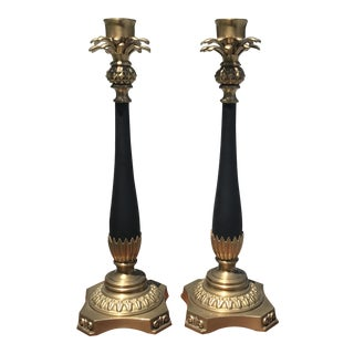 Late 20th Century Decorative Crafts Tall Brass Pineapple Candle Holders- A Pair For Sale