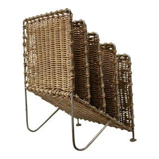 Rattan Wicker Midcentury Modern Desk Organizer For Sale