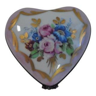 1970s Limoges Porcelain Heart Box For Sale