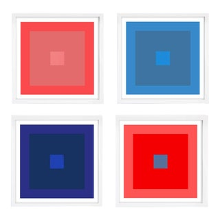 Modern Colorful Vivid Colors Geometric Prints Unframed - Set of 4 For Sale