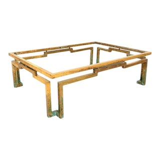 Modernist Arturo Pani Geometric Greek Design Coffee Table in Brass Mexico For Sale