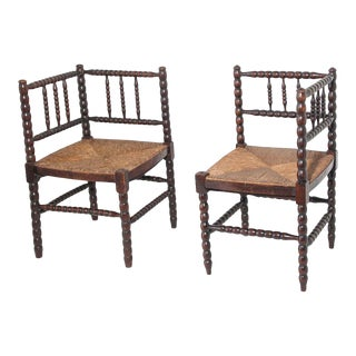 French Arts & Crafts Turned Oak Corner Chairs - a Pair For Sale