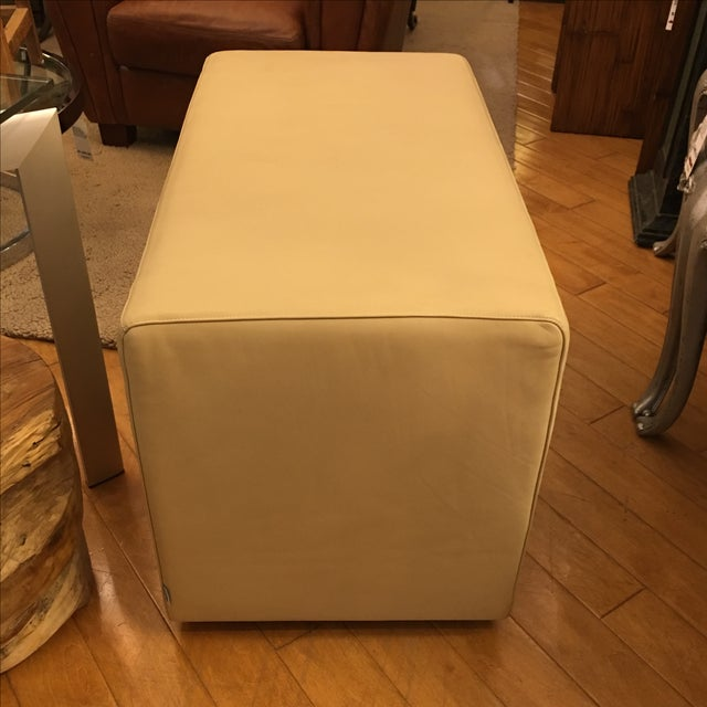Living Divani Leather Cuboid Ottoman For Sale - Image 5 of 11